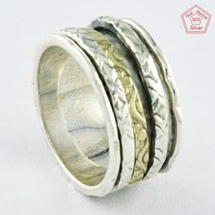 Sz 8 US, TWO TONE RAVISHING DESIGN 925 STERLING SILVER SPINNER RING,R4469 #SilvexImagesIndiaPvtLtd #Spinner #AllOccasions