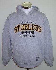 Pittsburgh Steelers NFL Football Gray Reebok Gridiron Classic Hoodie Size Large #Reebok #PittsburghSteelers
