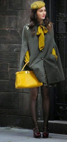 Street style | Grey coat, yellow accessories