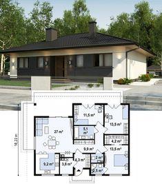 Проект одноэтажного дома Z368 D. Z368 D аккуратный одноэтажный дом в традиционном стиле с продуманной планировкой. Современный экстерьер делает дом актуальным как загородом, так и в городском ландшафте.