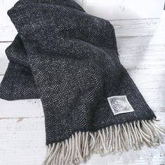 Black Herringbone Wool Throw | Tolly McRae
