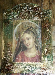 decoupage i jedwabie Ma. Decoupage On Canvas, Religious Art, Ikon, Canvas Frame, Mona Lisa, Arts And Crafts, Artwork, Painting, Beautiful