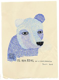 Little is Drawing - The Blue Bear. This bear will be fun to draw. Tons of short lines, one straight line and two dots! Your bear doesn't have to look like this one.