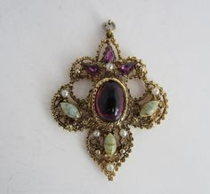 Purple Glass Gold Tone Filigree Pendant Agate Seed Pearls Vintage By Hollywood