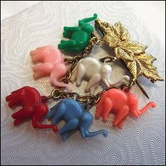 Antique Celluloid Pin Colorful Elephants Chatelaine 1930s Jewelry