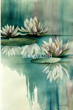 """Mirrored Lilies"" by Jayne Morgan, Dunnellon // Original watercolor of the beautiful white water lily in an abstract background of blended colors.  The flowers and the liliy pads are altered by the changing sky and the reflections.  The hues melt into white, aquas and mauve to set the mood of serenity and peace. // Imagekind.com -- Buy stunning fine art prints, framed prints and canvas prints directly from independent working artists and photographers."