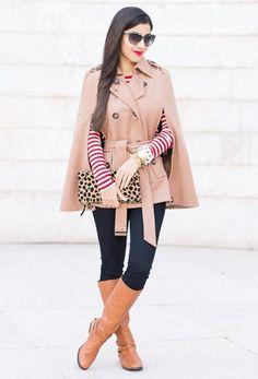 2.14 red stripes + leopard (SheInside cape + Ganni striped dress (worn as sweater) + J Brand black legging jeans + Ralph Lauren riding boots + Clare Vivier leopard clutch + Stella McCartney sunnies) <<<blasfemmes
