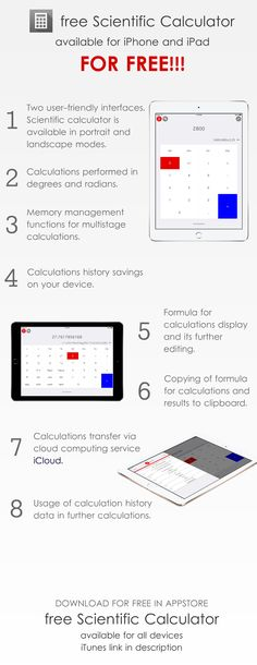 Scientific Calculator for iPad iOS Free App https://itunes.apple.com/app/id1111016482 by wolfdevelopment.club Calculator