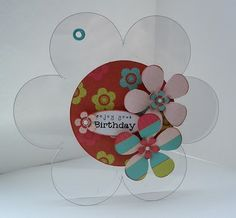 Blush Crafts -- clear acetate card, linked with an eyelet