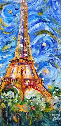 Original oil painting Eiffel Tower Starry Night PALETTE KNIFE on canvas by Karen Tarlton impressionism impasto palette knife fine art