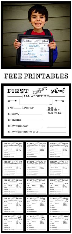 First Day of School All About Me sign free printable sign. Preschool and Kindergarten through Senior year. Print this sign for back to school pictures.
