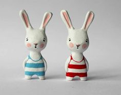 Your place to buy and sell all things handmade Polymer Clay Animals, Polymer Clay Charms, Polymer Clay Projects, Clay Crafts, Clay Dolls, Doll Toys, Art Dolls, Biscuit, Year Of The Rabbit