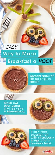Take breakfast to new heights by whipping up this quick back-to-school breakfast with Nutella®. The family is sure to get a real hoot out of it.