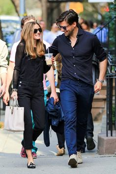 """""""Oh nothing, just being in love and drinking a coffee while wearing my cat slippers,"""" —  what I imagine Olivia Palermo would say if I asked her what's happening in this picture."""