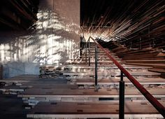 2,000 Pieces of Reclaimed Wood Form a Textured Ceiling - My Modern Metropolis