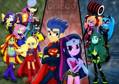 It's so funny to make this drawing; enjoy it. I know many people will prefer Rainbow Dash as Flash or someone else, but I picked real female heroines to combine with the mlp characters. My little P...