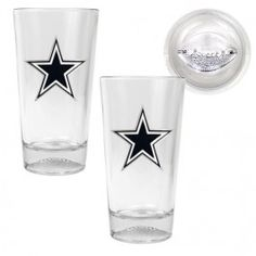Dallas Cowboys NFL 2 Piece Pint Ale Glass Set with Football Base (Clear)