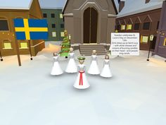 Showing Christmas traditions in VR: Sweden celebrates St. Lucia's Day on December 13th. Girls dress up as Saint Lucy – with white dresses and crowns of burning candles on their head – and people sing carols.