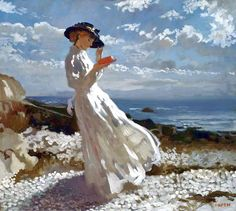 William Orpen, Grace reading at Howth Bay, 1900