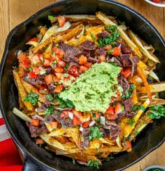 Carne Asada Fries: Juicy steak, spicy pico, and creamy guac come together in this incredible dish! Such an amazing combination of flavors and textures Beef Recipes, Mexican Food Recipes, Ethnic Recipes, Recipies, Carne Asada Fries, Slow Cooker Times, French Fries Recipe, Side Dish Recipes, Dinner Recipes