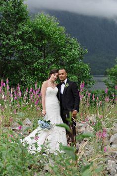 Romantic mountain bridal portraits