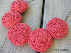 Pink Rosette Necklace Fabric Necklace Bib by SweetCamiJayne, $28.00