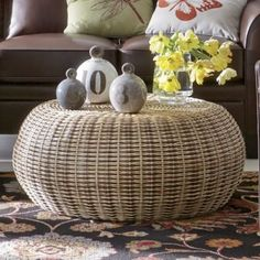 Warm, organic coffee table has a diam. Rattan frame with woven rattan; Wicker Coffee Table, Cool Coffee Tables, Round Coffee Table, Coffee Table Design, Living Room Furniture, Home Furniture, Mid Century Modern Decor, Upcycled Home Decor, Eclectic Decor