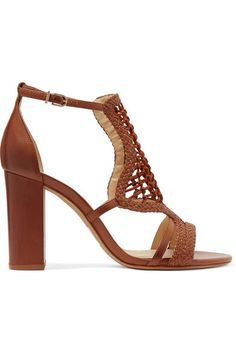 Heel measures approximately 90mm/ 3.5 inches Tan leather Buckle-fastening ankle strap
