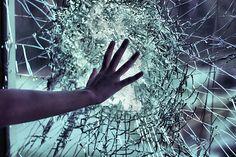 Broken glass sad window hand glass broken break