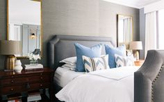 Soft grays predominate in a bedroom that Susan Greenleaf created as a contemplative retreat. | Lonny