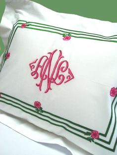 Love how different this monogrammed pillow sham is from the standard trend.