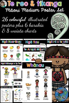 Incorporate te reo and tikanga Maori into your classroom display and programme with these 26 colourful posters plus 6 Karakia and 8 Waiata. #TeReoandTtikangaMaori