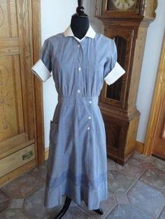 Vintage 40s 1940s Nurse Uniform Dress M L Red Cross