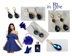 """""""in Blue"""" by artistinjewelry on Polyvore featuring LULUS, Kendall + Kylie, Versace, Obsessive Compulsive Cosmetics and vintage"""
