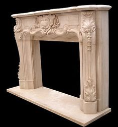 Antique French Rococo Marble Louis Xiv Carved Fireplace Mantel Heritage Design Fireplace
