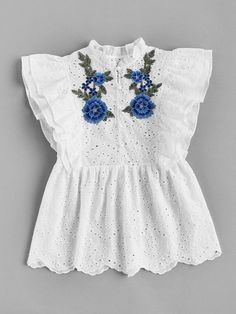 To find out about the Flower Applique Layered Flutter Sleeve Eyelet Embroidered Top at SHEIN, part of our latest Blouses ready to shop online today! Girls Fashion Clothes, Kids Outfits Girls, Fashion Outfits, Clothes For Women, Designer Kurtis, Designer Dresses, Simple Kurti Designs, Kurta Designs, Girls Dresses Sewing