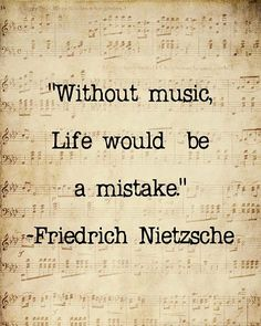 Music Quote Musical Notes Vintage Feel Friedrich Nietzsche Sepia Natural For the Musician, 8 x 10 Word Art Print❤️