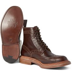 these boots are everything ---> Grenson Fred TripleWelt Leather Brogue Boots Sock Shoes, Men's Shoes, Dress Shoes, Leather Brogues, Leather Shoes, Mens Fashion Shoes, Fashion Boots, Hipster Accessories, Designer Boots