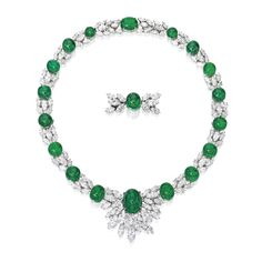 Platinum, Emerald and Diamond Necklace. The wreath-style necklace set with 18 round and oval-shaped cabochon emeralds, spaced by marquise-shaped diamonds, together with an additional centerpiece set with an oval-shaped cabochon emerald accented by marquise-shaped diamonds, the emeralds weighing 100.00 carats, the diamonds weighing 42.75 carats, signed Harry Winston. (=)