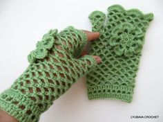 Crochet Lace Gloves Green Fingerless Crochet by LyubavaCrochet, $21.00