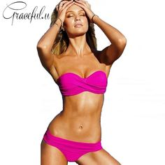 7627e982bf0 Solid Push Up Bandeau Bikini Set Women Swimsuit Strapless Swimwear Padded  Sexy Beach Wear maillot de bain
