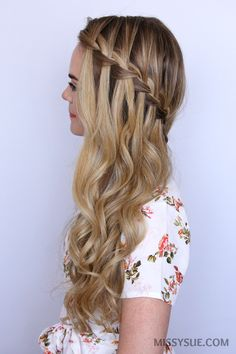 waterfall-braid-sideswept-hair-tutorial
