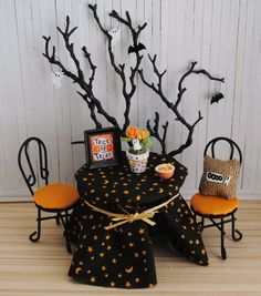 miniature halloween scene with black and orange table and chairs tree with hanging ghosts and bats burlap oooo pillow and more - Miniature Halloween Decorations