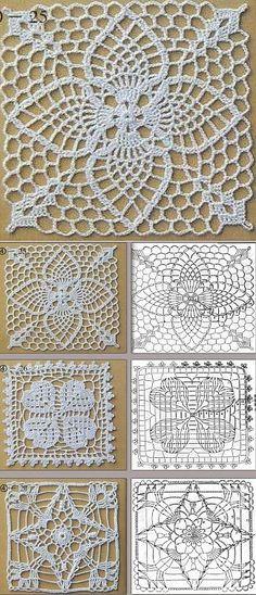 Квадратные мотивы крючком | Крючок - Мотивы | Постила Crochet Headband Free, Crochet Cowl Free Pattern, Crochet Motif Patterns, Granny Square Crochet Pattern, Crochet Squares, Crochet Chart, Thread Crochet, Crochet Granny, Crochet Table Runner Pattern