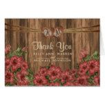 Monogram Wood Hearts with Dusty Rose Lily Flowers Card