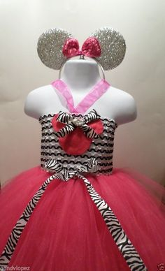 Minnie Mouse Themed Tutu Dress In Hot Pink and Zebra Stripes with headband #fitnesshahababy #DressyHolidayPageantWedding