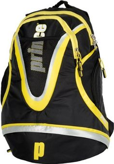 "Prince Rebel Tennis Backpack by Prince. $49.00. Bold and stylish bags carried by Prince marquee athletes who wield the racquet of the same name.   Dimensions: 13.5""L x 19""H x 8""W Colors: Black/Grey/Yellow Features: Accessory Pocket, Footwear Pocket"