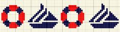 cross stitch border: life savers & sailboats