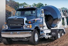 Shiny new black Sterling cement mixer Concrete Truck on the job site Heavy Duty Trucks, Big Rig Trucks, Dump Trucks, New Trucks, Ford Trucks, Concrete Mixers, Mix Concrete, Sterling Trucks, Cement Mixer Truck