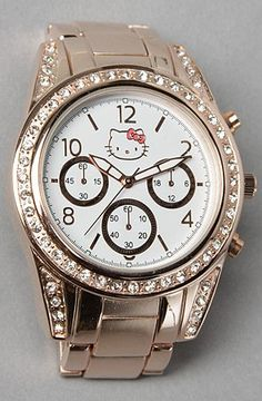 Hello Kitty Brushed Round Watch in Rose Gold